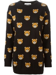Moschino Intarsia Teddy Bear Sweater Dress Black