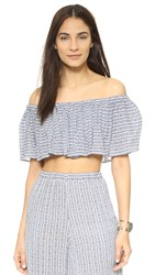 Mara Hoffman Off Shoulder Ruffle Crop Top Pinwheel Cobalt