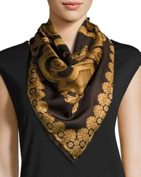 Versace Silk Geometric Print Circle Scarf Brown Gold