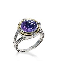 Effy Amethyst Sterling Silver And 18K Yellow Gold Ring