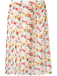 Au Jour Le Jour Sushi Print Pleated Skirt