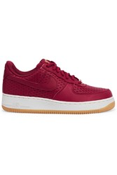 Nike Air Force 1 Perforated Leather Sneakers Red Burgundy
