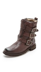 Frye Valerie Shearling Strappy Boot Dark Brown