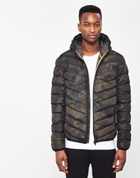 The Idle Man Camo Padded Puffer Jacket Green