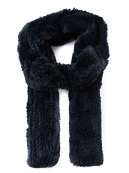 Liska Rabbit Fur Scarf Blue