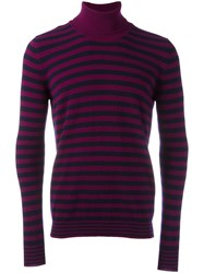 Nuur Striped Roll Neck Jumper Pink Purple