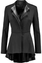 Cushnie Et Ochs Lullaby Leather Trimmed Wool Blend Peplum Blazer Black