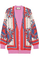 Gucci Wool Blend Trimmed Printed Silk Cardigan Pink