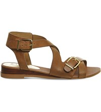 Office Boulevard Leather Wedge Sandals Tan Leather