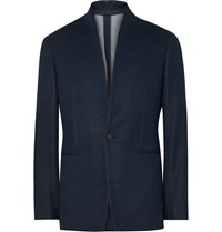 Kilgour Navy Slim Fit Stand Collar Cotton Blazer