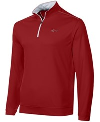 Greg Norman For Tasso Elba Men's 1 4 Zip Golf Pullover Banner Red