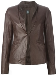 Eleventy Leather Blazer Brown