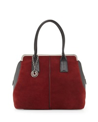 Charles Jourdan Baxter Leather Suede Tote Bag Wine