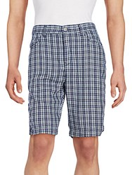 Ck Calvin Klein Plaid Cotton Shorts Bright Indigo