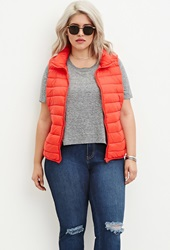 Forever 21 Plus Size Zip Up Puffer Vest Coral