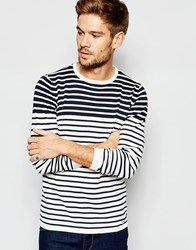 Blend Of America Blend Crew Jumper Slim Fit Breton Knit Contrast Stripes Navy
