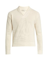 Christophe Lemaire Shawl Collar Wool Sweater Cream