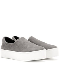 Opening Ceremony Platform Suede Slip On Sneakers Grey