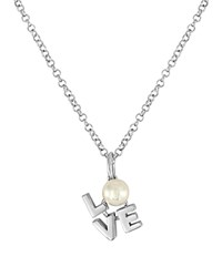 Majorica Courtney Simulated Pearl Pendant Necklace 16 Silver