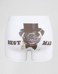 Asos Trunks With Best Man Print White