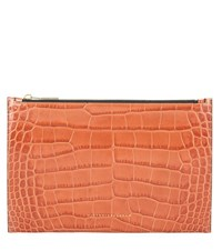 Victoria Beckham Small Simple Embossed Leather Pouch Brown