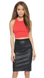 Alice Olivia Blythe Angular Fitted Crop Top Red