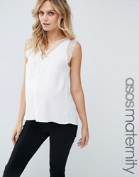 Asos Maternity Deep Plunge Lace Insert Cami Vest Ivory White