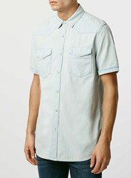 Topman Bleach Denim Western Short Sleeve Casual Shirt Blue