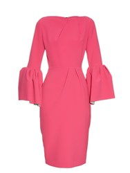 Roksanda Ilincic Margot Bell Sleeved Crepe Dress Fuchsia