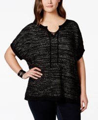 Extra Touch Plus Size Short Sleeve Lace Up Sweater Black Snow White