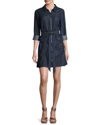 7 For All Mankind Zip Front Belted Denim Dress Indigo