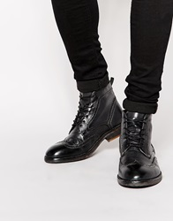 H By Hudson Anderson Brogue Boots Black