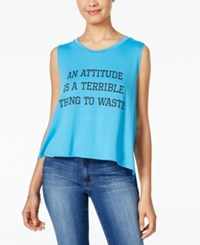 Rebellious One Juniors' Attitude High Low Graphic Tank Neon Blue