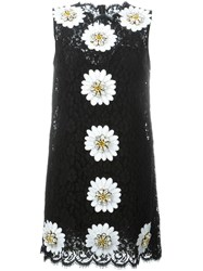 Dolce And Gabbana Daisy Applique Lace Dress Black