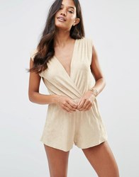 Rare Suedette Wrap Playsuit Beige Brown