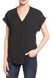 Pleione Petite Women's High Low V Neck Mixed Media Top Black