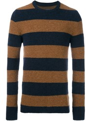 Laneus Striped Crew Neck Jumper Blue
