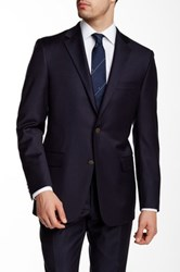 Hickey Freeman Navy Wool Blazer Blue