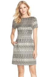 Vince Camuto Metallic Jacquard A Line Dress Regular And Petite Black Gold
