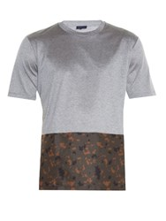 Lanvin Contrast Panel Crew Neck T Shirt Grey Multi