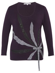 Chesca Beaded Silk Spray Jumper Grape