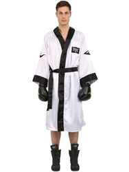 Everlast Hooded Satin Boxing Robe White Black