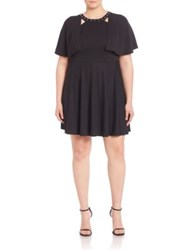 Abs Plus Size Studded Cape Overlay Dress Black