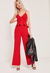 Missguided Petite Wide Leg Trousers Red Red