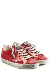 Golden Goose Super Star Metallic Leather And Suede Sneakers Red