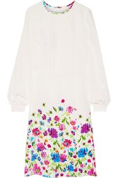 Oscar De La Renta Pintucked Floral Print Silk Satin Dress Ivory