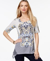 Styleandco. Style And Co. Rhinestone Embellished Scarf Print Top Only At Macy's