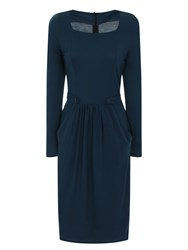 Hotsquash Button Pinafore Dress In Clever Fabric Teal