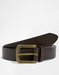 New Look Faux Leather Belt With Embossed Detail Brown