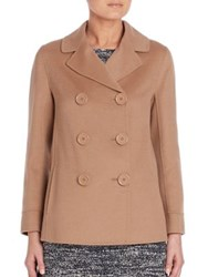 Max Mara Donea Double Breasted Wool And Angora Peacoat Camel